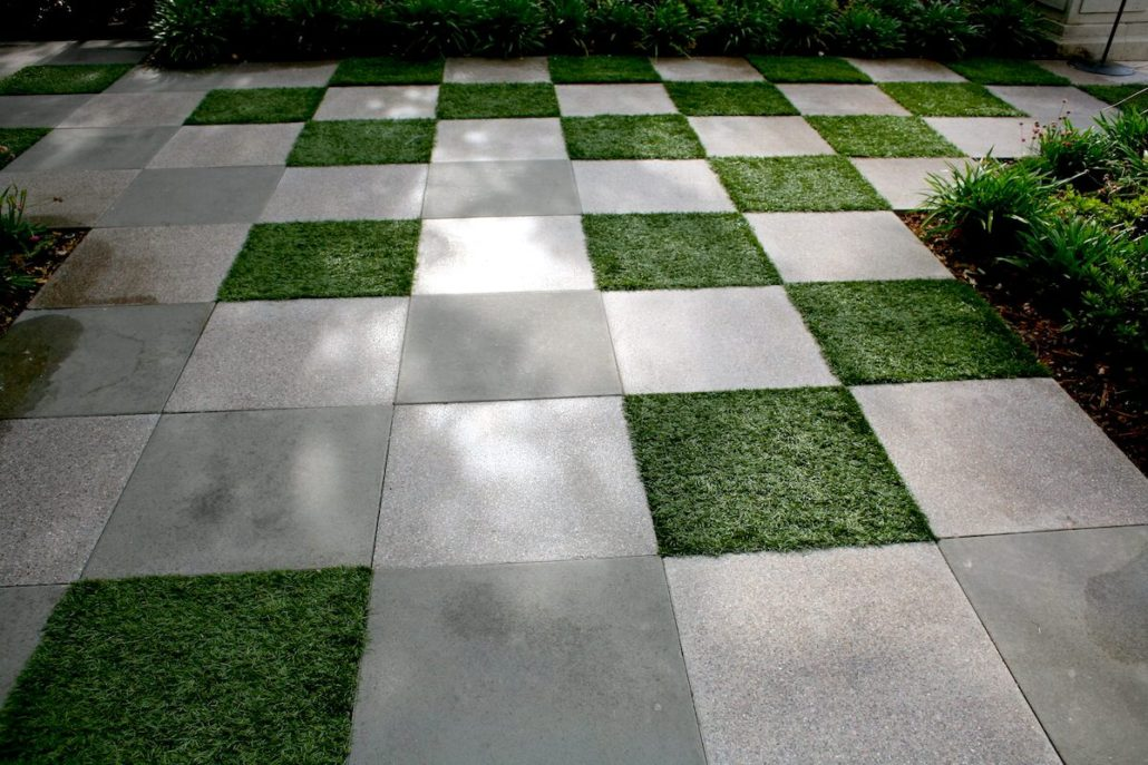 Artificial Turf as Permeable Gaps Between Pavers - Jacks Turf